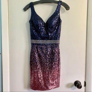 Mon Cheri Navy & Pink Sequin Tie Back Prom Dress